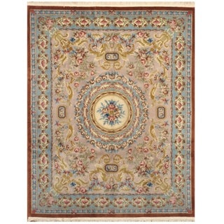 Handmade One-of-a-Kind Aubusson Wool Rug (India) - 7'9 x 9'9