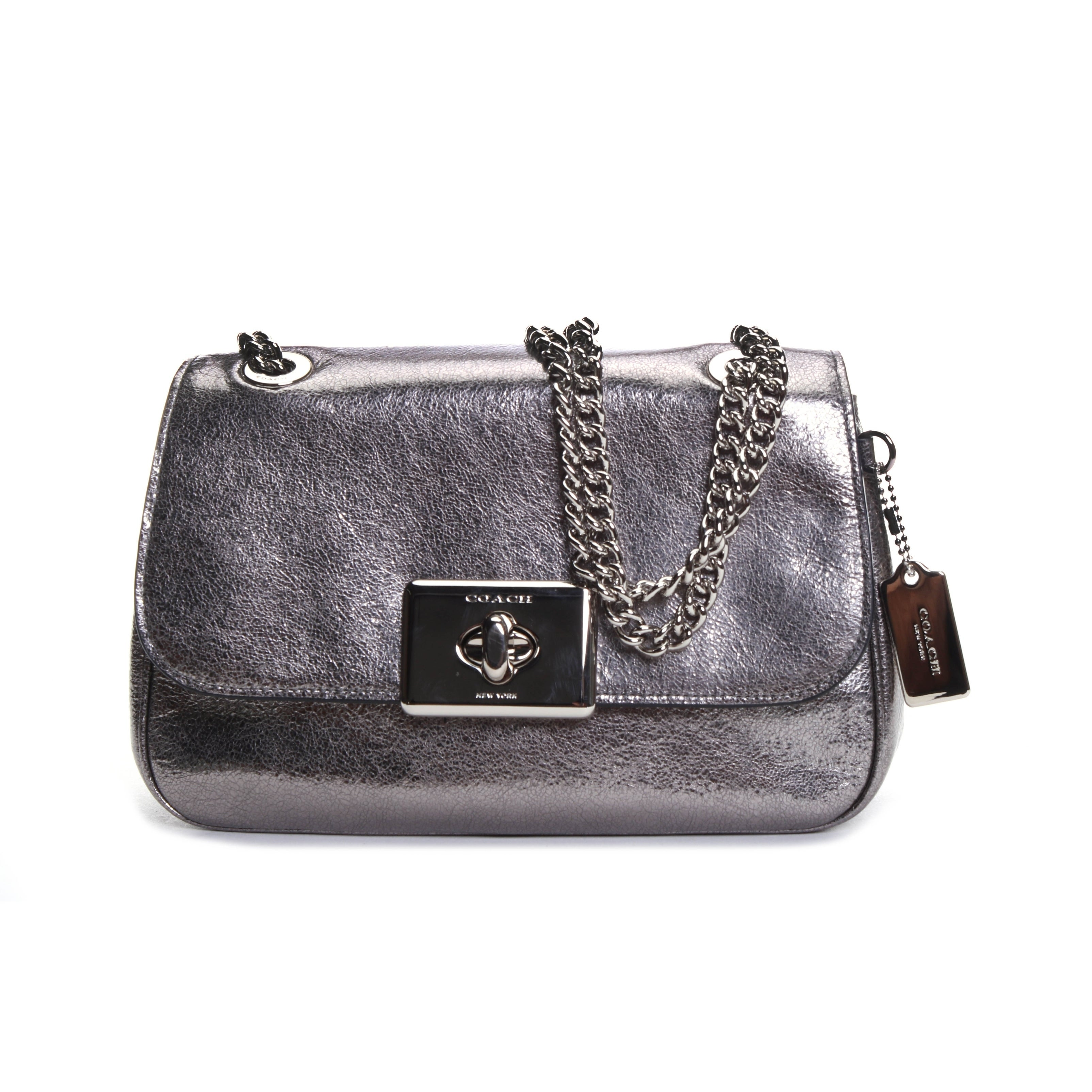 COACH CASSIDY Crinkle Metallic Leather Chain Shoulder Bag Crossbody F38937 Clothing, Shoes & Accessories