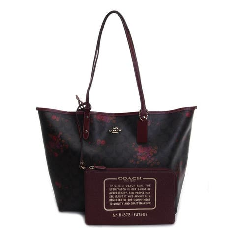 Coach Womens Signature Floral Reversible City Tote