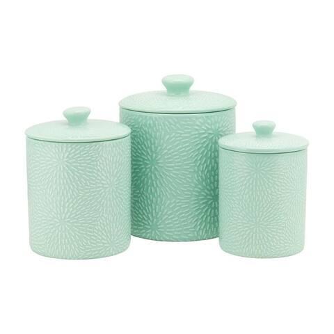 10 Strawberry Street Burst Embossed 3 Piece Ceramic Canister Set