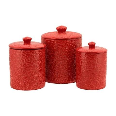 10 Strawberry Street Fleur Embossed 3 Piece Ceramic Canister Set