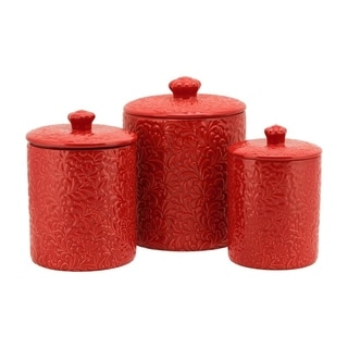 10 Strawberry Street Fleur Embossed 3 Piece Ceramic Canister Set