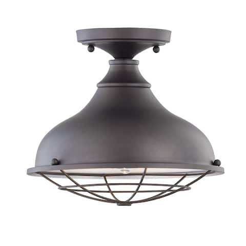 Camden 1-light Aged Bronze Outdoor LED Flushmount