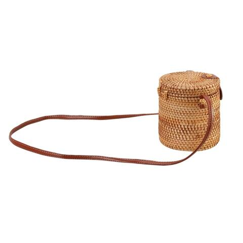 Diophy Handwoven Nature Rattan Bucket Corss Body Bag