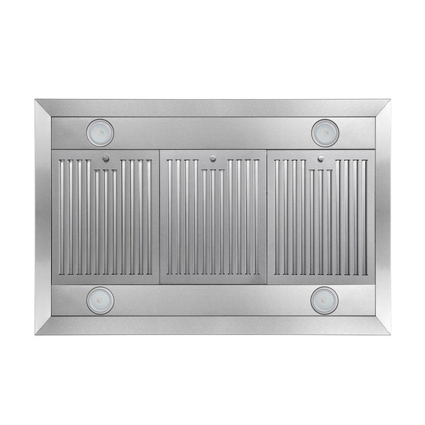 AKDY 36 Convertible Island Mount Range Hood with LED Lights in Stainless Steel
