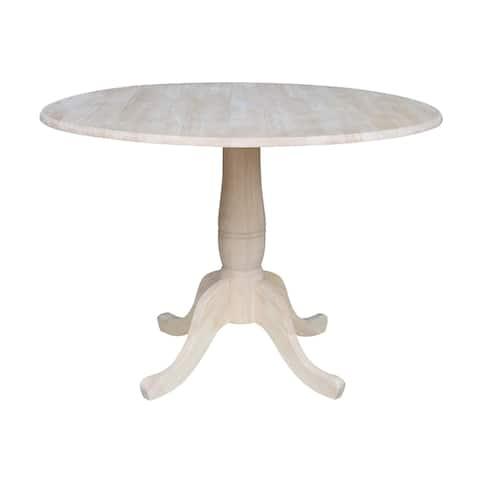 "42"" Round Pedestal Dual Drop Leaf Table - Unfinished"