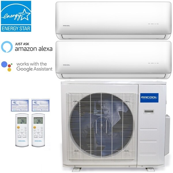 MRCOOL Olympus 18,000 BTU Ductless Heat Pump Split System 2 Zone Wall Mounted 9,000+9,000 with 16 ft. Install Kit - White