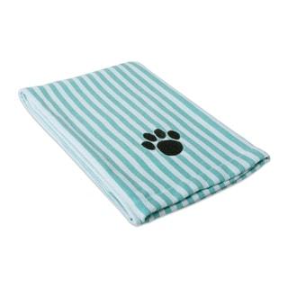DII Embroidered Paw Pet Towel (44x27.5 - Striped Aqua)
