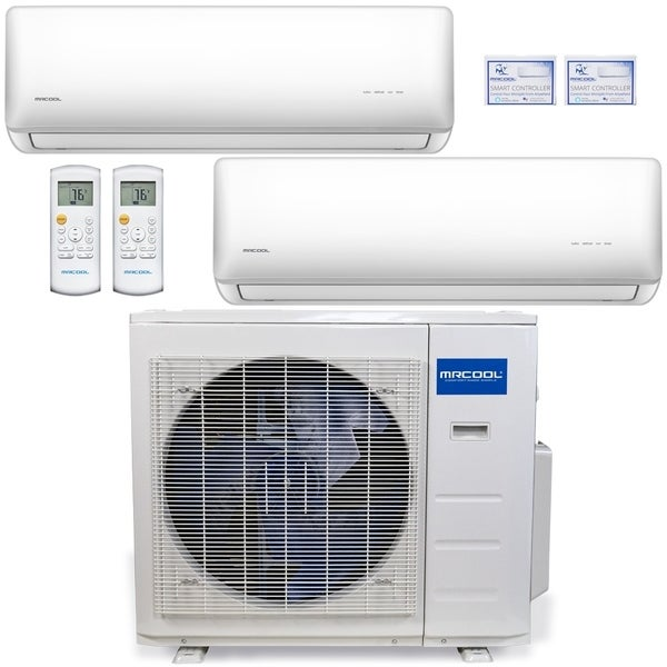 MRCOOL Olympus 27,000 BTU Ductless Heat Pump Split System 2 Zone Wall Mounted 12,000+12,000 with 16FT Install Kit 230-Volt/60Hz