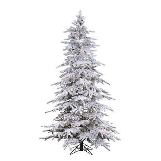 Direct Export 7.5' Flocked Balsam Pine Prelit Artificial Christmas Tree with StayLit