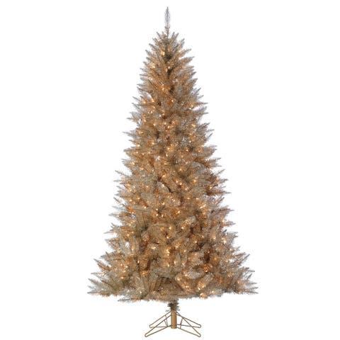 Direct Export 7.5' Platinum Tinsel Prelit LED Artificial Christmas Tree