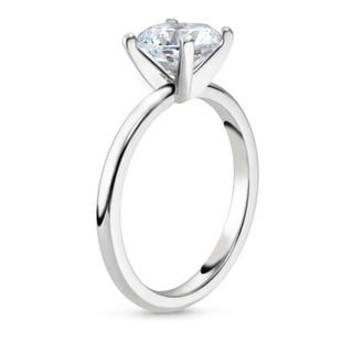 3 87Carat Large Round CZ Solitaire Engagement Ring In Rhodium Plating