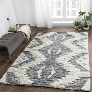 The Curated Nomad Jason Handwoven Kilim Shag Wool Area Rug
