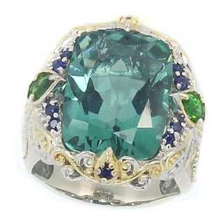Michael Valitutti Palladium Silver Forest Green Quartz Chrome Diopside Blue Sapphire Ring