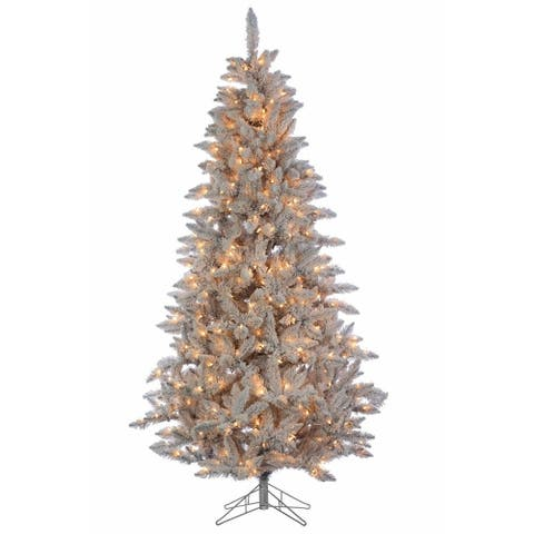 Direct Export 7.5' Deluxe Tinsel Silver/White Flock Artificial Christmas Tree