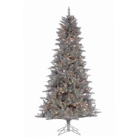 Direct Export 7.5' Silver Tinsel Prelit LED Artificial Christmas Tree