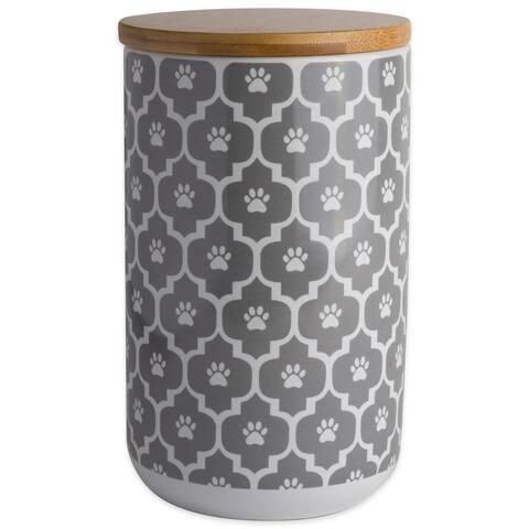 DII Nautical Blue Paw Lattice Print Ceramic Treat Canister