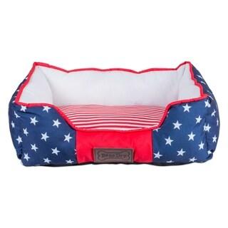 DII Bolster Pet Bed (36x27x10 - Stars & Stripes - Large)