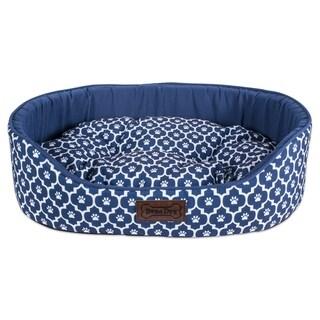 DII Bolster Pet Bed (36x27x10 - Lattice Navy - Large)