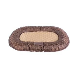 DII Border Cushion Pet Mat (Large - Oval Quilted Brown Mat - Large)