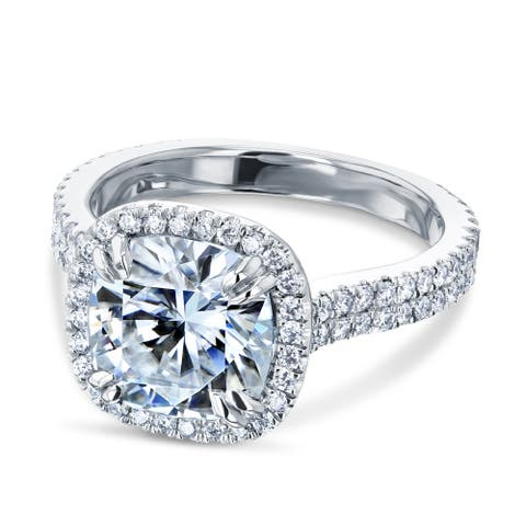 Annello by Kobelli 14k Gold 2.8ct Cushion Forever One Moissanite and 5/8ct Diamond Head Halo Engagement Ring (DEF/VS, GH/I)
