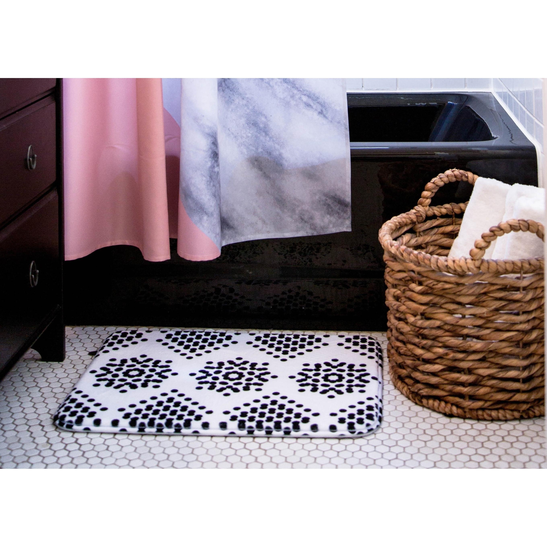 Mydeas Fancy Damask Black And White Memory Foam Bath Mat Overstock 28444157