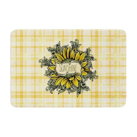 "Nick Atkinson ""Sunflower Sunshine"" Memory Foam Bath Mat"