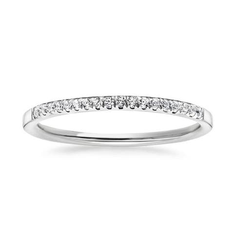 CZ Half Eternity Wedding Ring Stackable Band in Rhodium Plating, 2mm