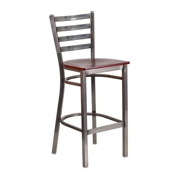 Flash Furniture Hercules Series Clear Coated Ladder Back Metal Restaurant Barstool - Mahogany Wood Seat - N/A