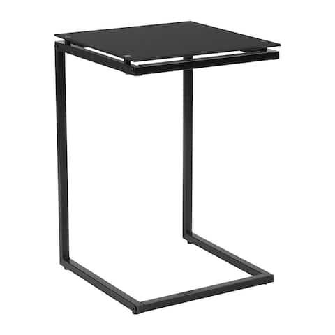 Flash Furniture Burbank Black Glass End Table with Black Metal Frame