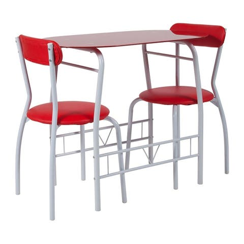 Flash Furniture Sutton 3 Piece Space Saver Bistro Set with Red Glass Top Table and Red Vinyl Padded Chairs