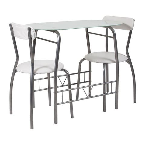 Flash Furniture Sutton 3 Piece Space Saver Bistro Set with White Glass Top Table and White Vinyl Padded Chairs