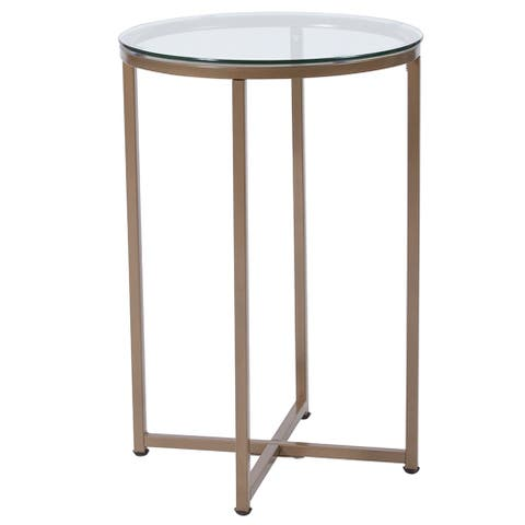 Flash Furniture Greenwich Collection Glass End Table with Matte Gold Frame