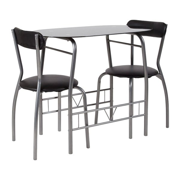 Flash Furniture Sutton 3 Piece Space Saver Bistro Set with Black Glass Top Table and Black Vinyl Padded Chairs