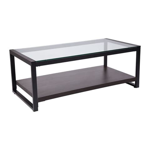 Flash Furniture Rosedale Glass Coffee Table with Black Metal Frame