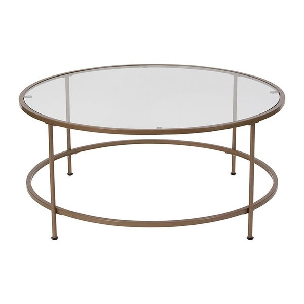 Flash Furniture Astoria Collection Gl Coffee Table With Matte Gold Frame Free Shipping Today 28452430