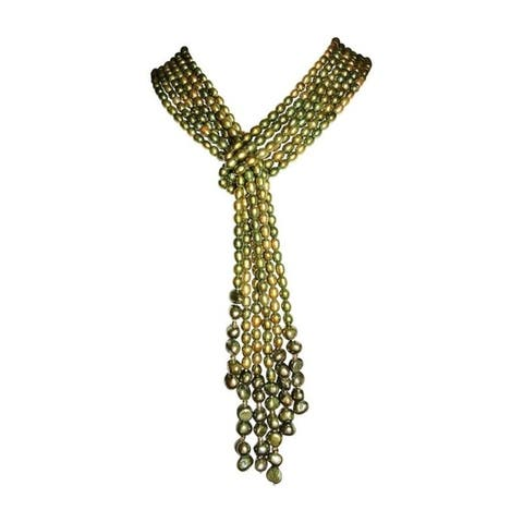 3 Strand Seed Pearl Necklace in White, Gold, Grey, Green, Pink or Brown