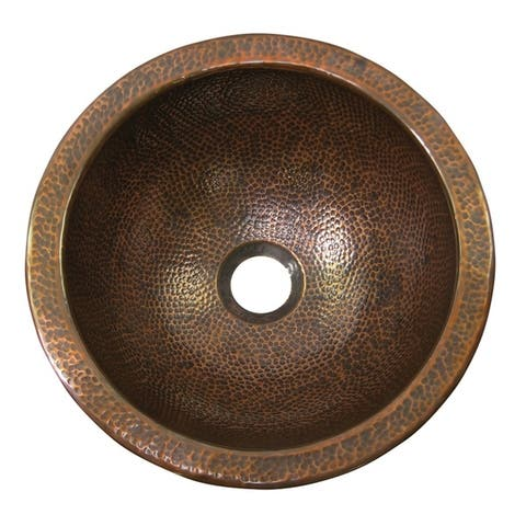 Hammered Copper Small Round Undermount Sink by The Copper Factory