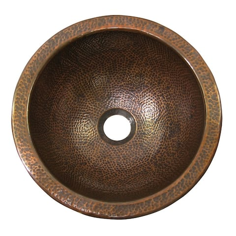 Hammered Copper Small Round Drop-In Sink by The Copper Factory