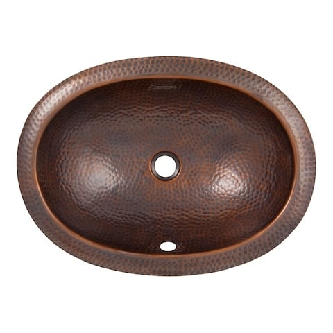 Hammered Copper Oval Undermount Lavatory Sink by The Copper Factory