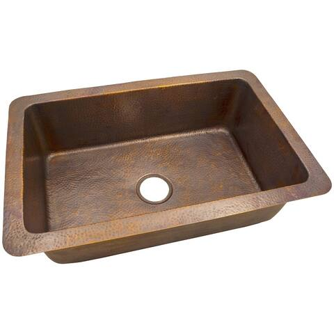 "Hammered Copper 32"" X 21"" Large Dual Mount Sink by The Copper Factory"