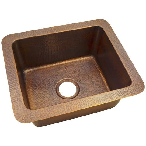 "Hammered Copper 18""X12"" Dual Mount Kitchen Sink, The Copper Factory"