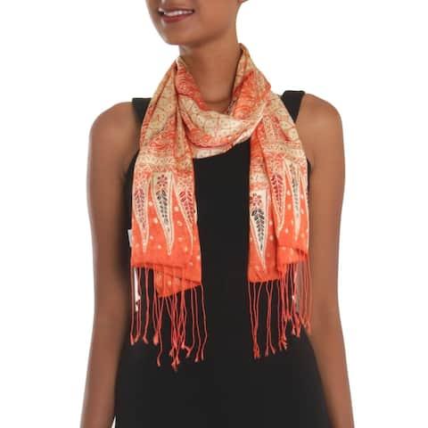 NOVICA Handmade Parang World In Mandarin Batik Silk Scarf (indonesia)