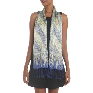 Link to Handmade Parang World in Indigo Batik Silk Scarf (Indonesia) Similar Items in Scarves & Wraps