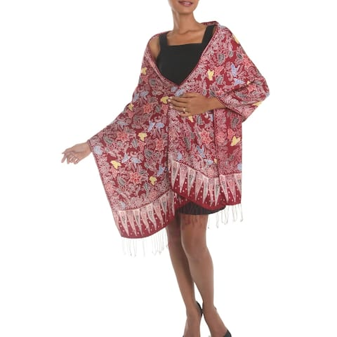 Handmade Maroon Garden Batik Silk Shawl (indonesia)
