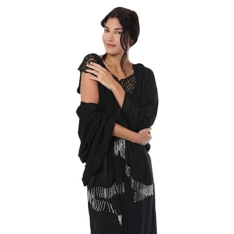 Handmade Midnight Glamour Silk Shawl (india)