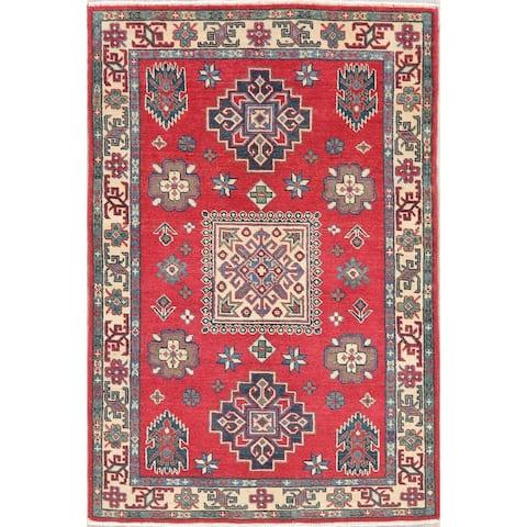 "Kazak Oriental Hand Knotted Wool Pakistani Area Rug - 4'10"" x 3'4"""