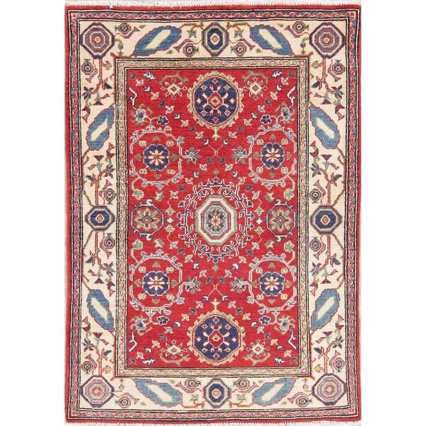 "Kazak Oriental Hand Knotted Wool Pakistani Area Rug - 5'2"" x 3'5"""