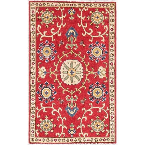"Kazak Oriental Hand Knotted Wool Pakistani Area Rug - 4'11"" x 3'1"""