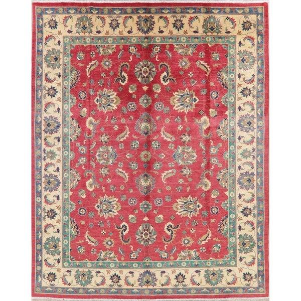 "Kazak Oriental Hand Knotted Wool Pakistani Area Rug - 10'8"" x 7'8"""
